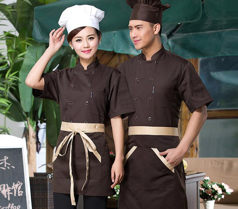 Hot Unisex Short Sleeve Cook Suit Restaurant Cook Work Wear Hotel Chef Uniforms Double-breasted Kitchen Chef Top Clothes