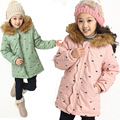 2016 New Winter Girl's Down Cotton coat Fashion Fur Collar Outwear Kids Medium-long Thickening Wadded Jacket For 4-10 Years Old
