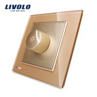 Free Shipping LIVOLO New Arrival Golden Crystal Glass Panel AC 110 250V Dimmer Light Switch VL