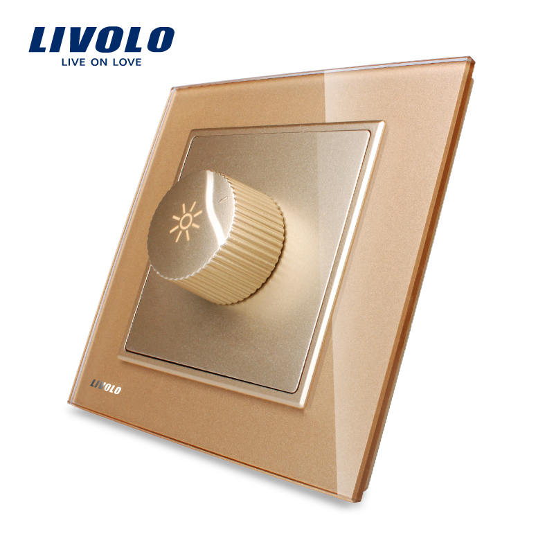 LIVOLO UK standard New Arrival Golden Crystal Glass Panel AC 110~250V Dimmer Light Switch VL-W291G-13 uk standard 1gang1way led touch dimmer switches white crystal glass panel light wall switch dimmer smart home ac220v