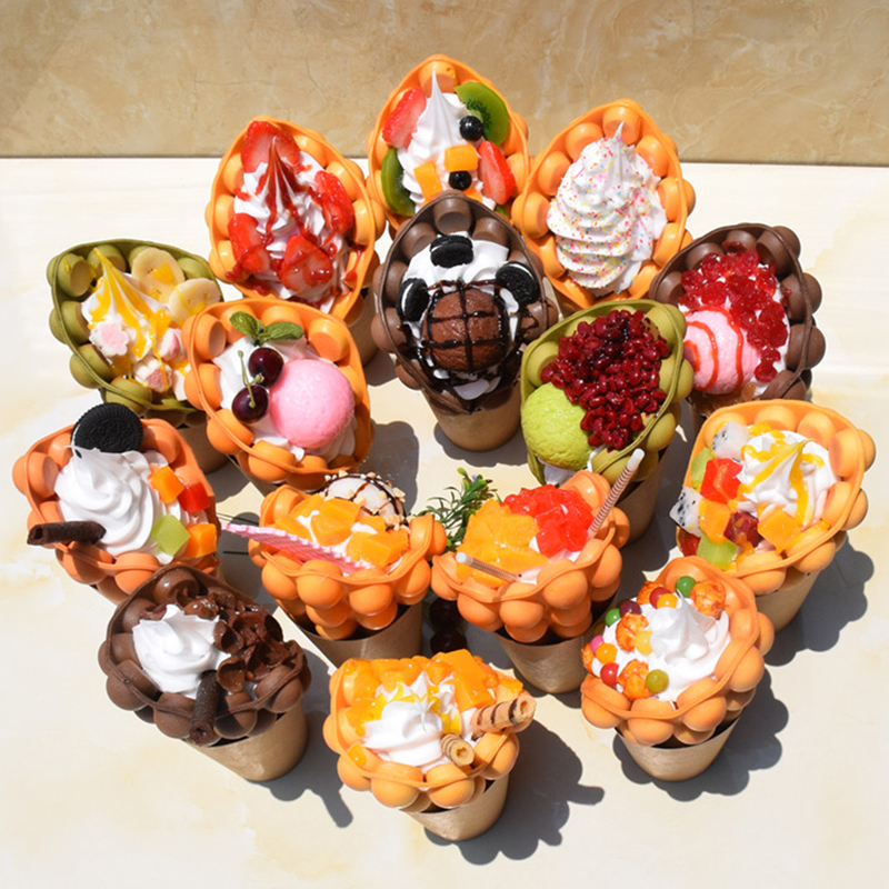 Hongkong Ice Cream Egg Waffle Fake Food Model Simulation Eggettes Bubble Waffles Sample Foods Display Props For Window Display