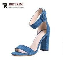 RIBETRINI 2018 mejor calidad Denim Mujer Zapatos Sexy Super tacones altos  Partido de tobillo diseño de marca Mujer Sandalias Zap. 3e891db4b8b8