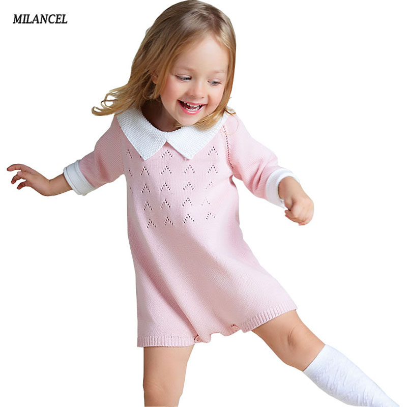 Milancel Knitting Baby Girl Bodysuit Knitted Baby Overalls -4530