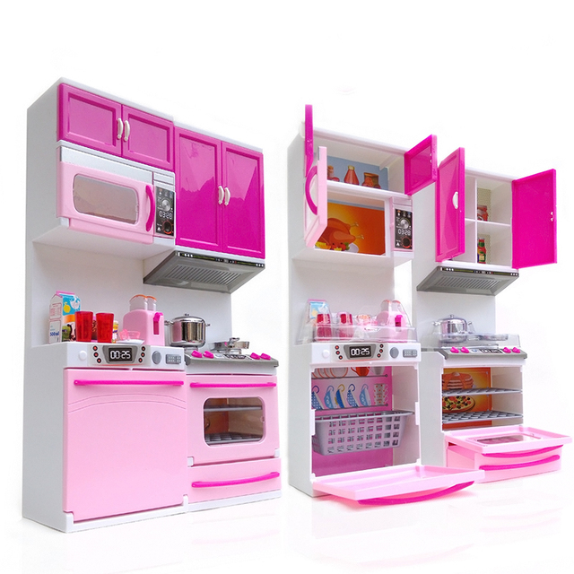 kids kitchen toys mobile rental toy for girl children plastic educational pretend led light sound stove oven cute pink cocina juguete