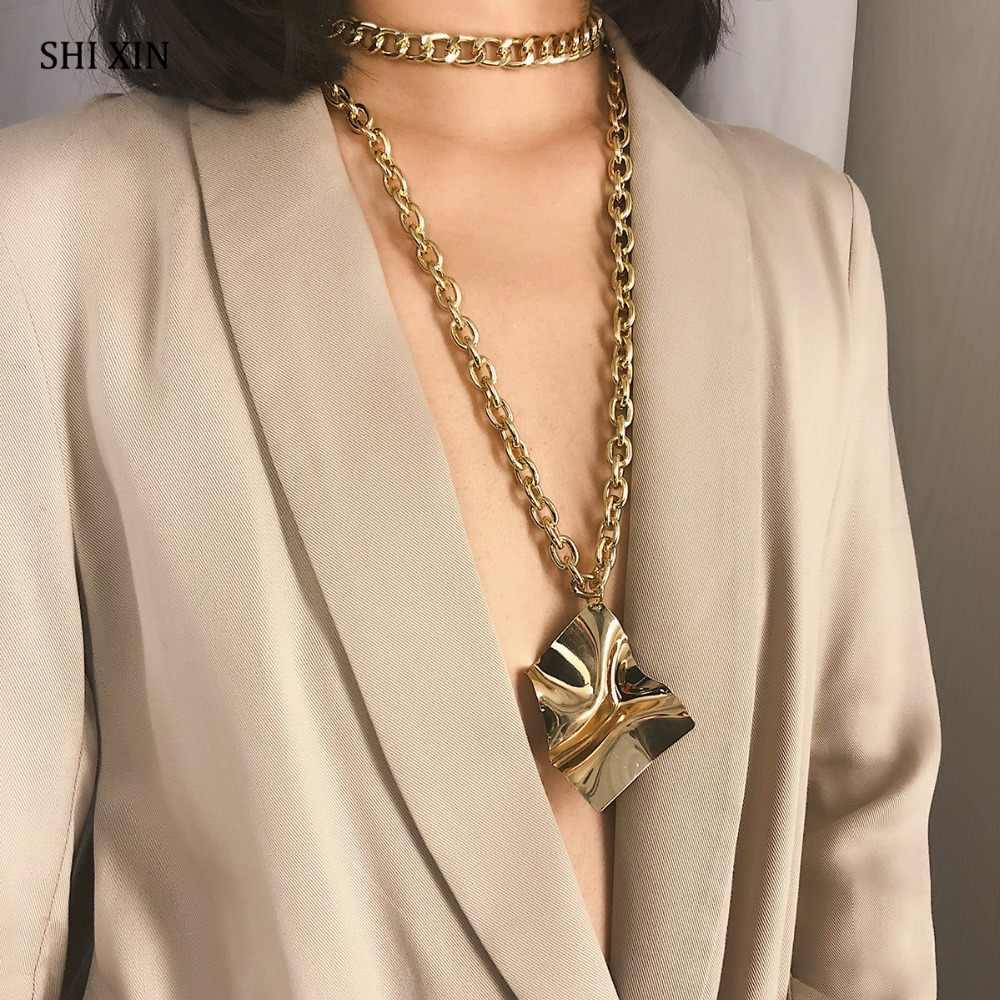SHIXIN 誇張ビッグ幾何ペンダントチョーカーネックレスファッションパーソナライズされた 2 レイヤードロングキューバリンクチェーン女性ジュエリー女性