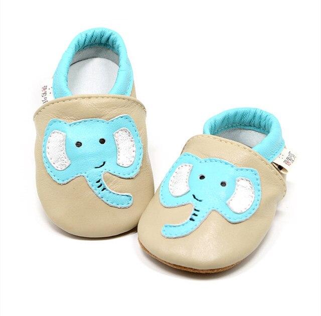 Мягкая Кожа Младенца Мальчики Девочки Детская Обувь Тапочки 0-18 М Новый Стиль Сначала Ходунки Слон Натуральная Кожа Мини-доказательство Детская Обувь