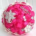 Свадебные аксессуары атласная свадебный букет невесты перл букеты свадебные цветы букет невесты со стразами BB5