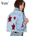 2017 estrella de primavera chaqueta de mezclilla bordados mujeres básica abrigos de mezclilla corta chaqueta de manga larga abrigos tallas grandes