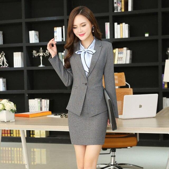 5f09f6b1041 Novelty Grey Slim Fashion Formal Uniform Design Professional Blazer Suits  With Jackets And Skirt Business Women