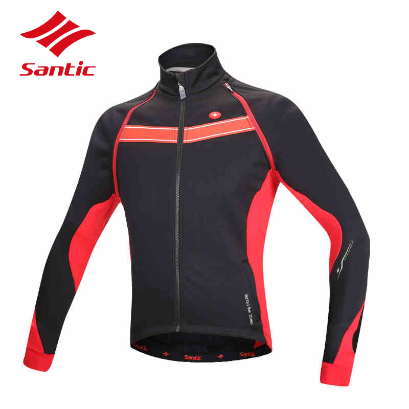 Santic Cycling Jacket Winter Men Keep Warm Thermal Cycling Vest MTB Road Bicycle Bike Jersey Cycle DH Clothing Maillot Ciclismo wosawe waterproof cycling jersey cycling rain jacket wind coat bicycle clothing ciclismo mtb bike cycle raincoat