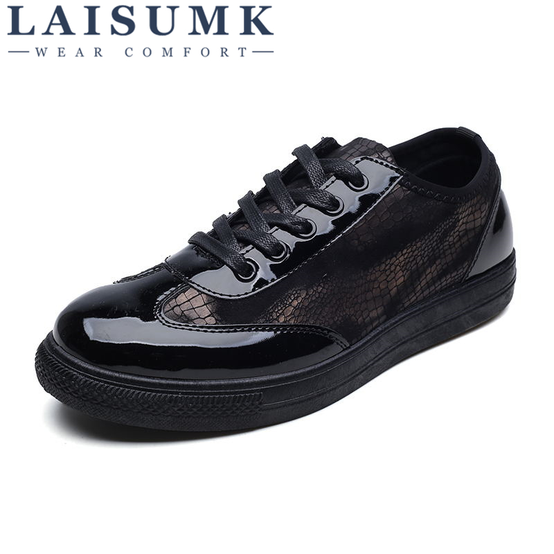 2018 LAISUMK Brand Luxury Mens Shoes Casual Mesh Driving Shoes Men Shoes Leather Spring Fashion Men Causal Shoes Zapatos Hombre