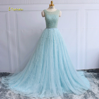 Loverxu Romantic Sexy Backlesss Long Lace Evening Dresses 2017 Scoop Neck Beaded Tulle Formal Dress For