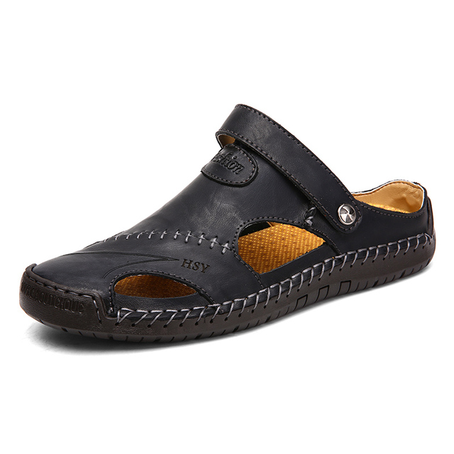 Hot Sale Summer Leather Sandals Men Outdoor Beach Sandals Comfortable Mens Breathable Rubber Flip Flops Shoes 2019 Large Sizes