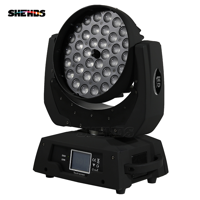 2PCS LED Moving Head Wash Light LED Zoom Wash 36x18W RGBWA+UV Color DMX Stage Moving Heads Wash Touch Screen For DJ Disco Party 2pcs lot mini led wash moving head 4x18w rgbwa uv dmx stage lights business high power with professional for party ktv disco dj