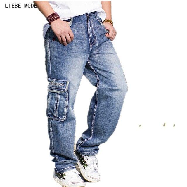Estilo militar casuales de los hombres pantalones Jeans con múltiples  bolsillos de pierna ancha genial baile 42c5b919c9e