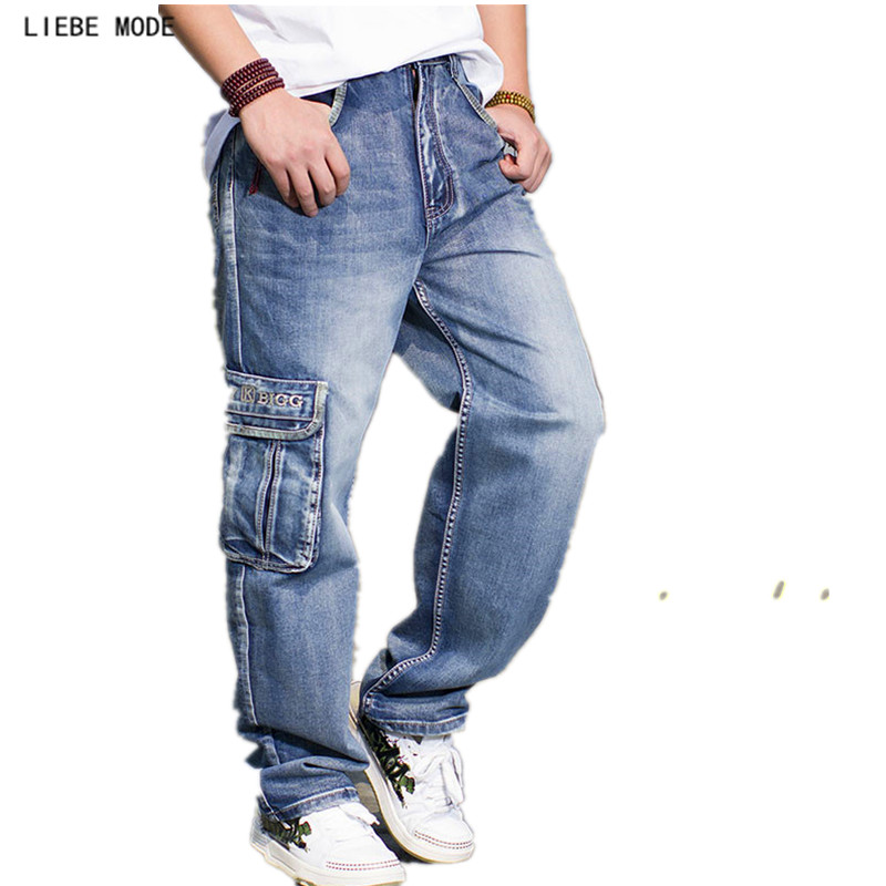 Military Mens Casual Baggy Denim Cargo Pants With Multi Pockets Loose Fashion Cool Dance Cargo Jeans Plus Size 36 38 40 42 44 46  mens casual blue jeans denim multi pocket loose outdoor straight legs cargo pants