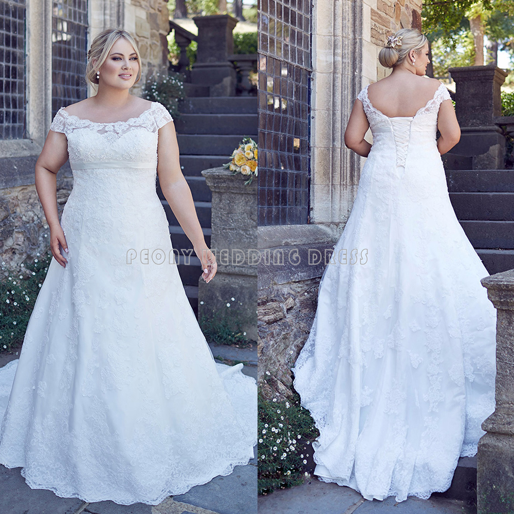 White Plus Size Wedding Dress Cap Sleeve Beaded Empire A Line Plus ...