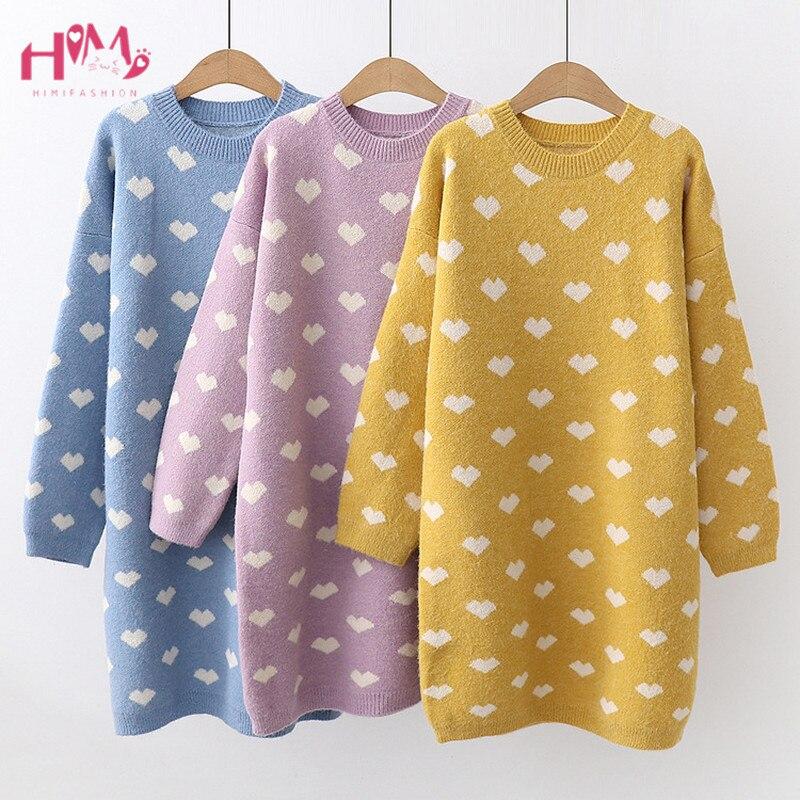Autumn Winter Women Long Sleeve Sweater Dress Lovely Yellow Knitted Pullover Korean Vintage Kawaii Plus Size
