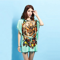 B8826 Korean Fashion Dress Tiger Fat MM Silk Waist BianFuShan Wholesale