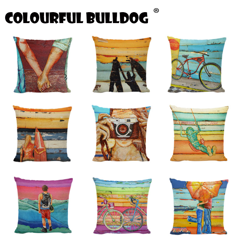Hot Sale Scenic Decorative Pillow Case Printed Home Decor Lounger For The Beach Fashion Colorful Wood Blue Bicycle Cushion Cover