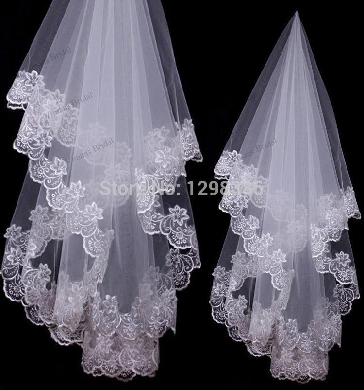 Hot Sale Wedding Accessories White One-Layer Bridal Veils Lace Edge Bridal Wedding Veils Veu De Noiva BL01