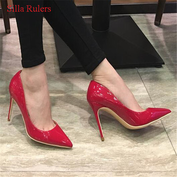 Classic Fashion Patent Leather Women Pumps High Heels Pointed Toe Slip On Spring Women Wedding Shoes Woman Sandals Zapatos Mujer