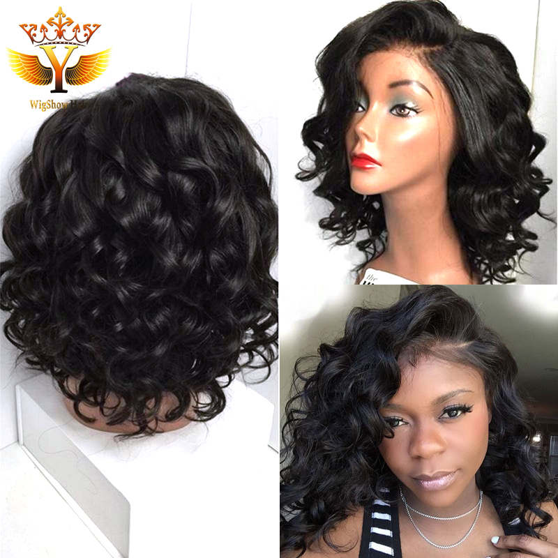 short full lace human hair wigs for black women short bob