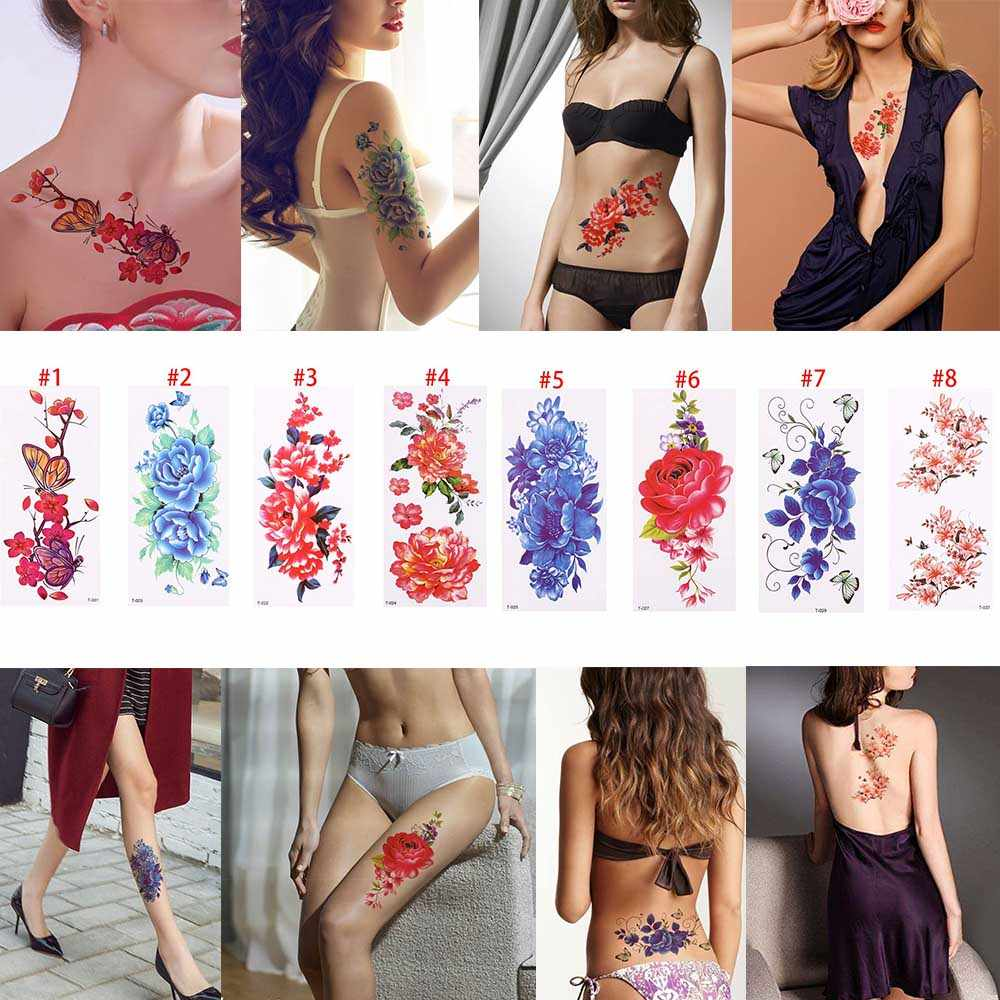 d0a86cc52 1PC New Women Removable Women Lady 3D Rose Flowers Waterproof Temporary  Tattoo Stickers Beauty Body Art