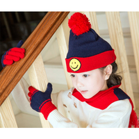 3 Pieces Set Girls Caps Baby Beanies Hat Scarf Gloves Kids Winter Knit Wool Warm Hats