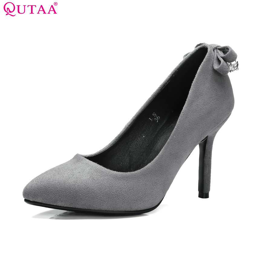 QUTAA 2017 Fashion Black Women Pumps Thin High Heel Pointed Toe Bow Tie Platform PU leather Ladies Wedding Shoes Size 34-42 2015 fashion women pumps high heel pointed toe shoes soft leather elegant ladies wedding shoes red black size 34 40