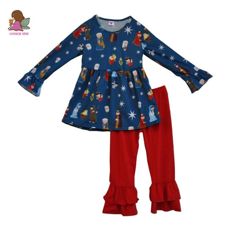 Fiel bebé Jesús impresión algodón superior e inferior 2 unids ropa trajes de bebé niños invierno Niño ropa Niñas Ropa f071