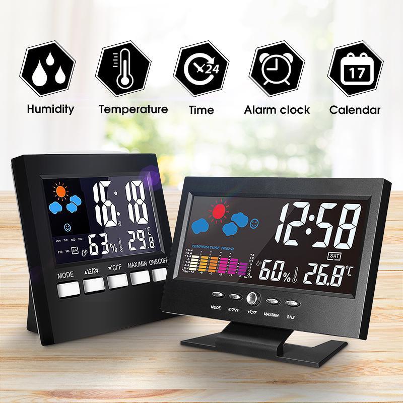 Wireless LCD Wifi Weather Station C//°F Digital Alarm Clock Humidity Thermometer