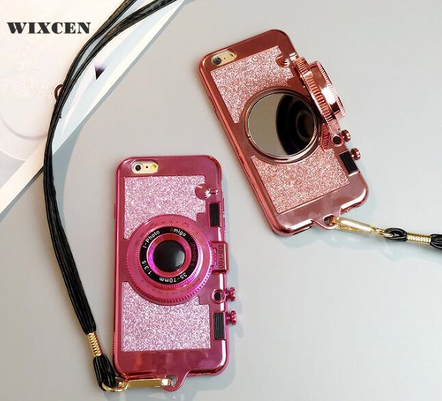 promo code 1ddcc d9291 US $5.1 12% OFF|Wixcen Luxury 3D Retro Camera Phone Case for Iphone 6 6s  6Plus 7 7plus 8 X cute glitter soft tpu Case Lanyard Back Cover-in Fitted  ...