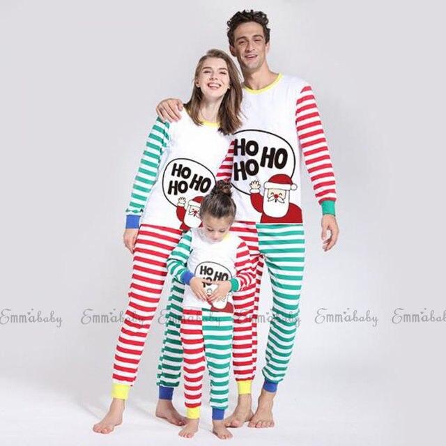 f4c133bda Emmababy Family Matching Clothes Christmas Pajamas Set Men's Women Kids  Santa Sleepwear Striped Cute Cartoon Cotton Nightwear
