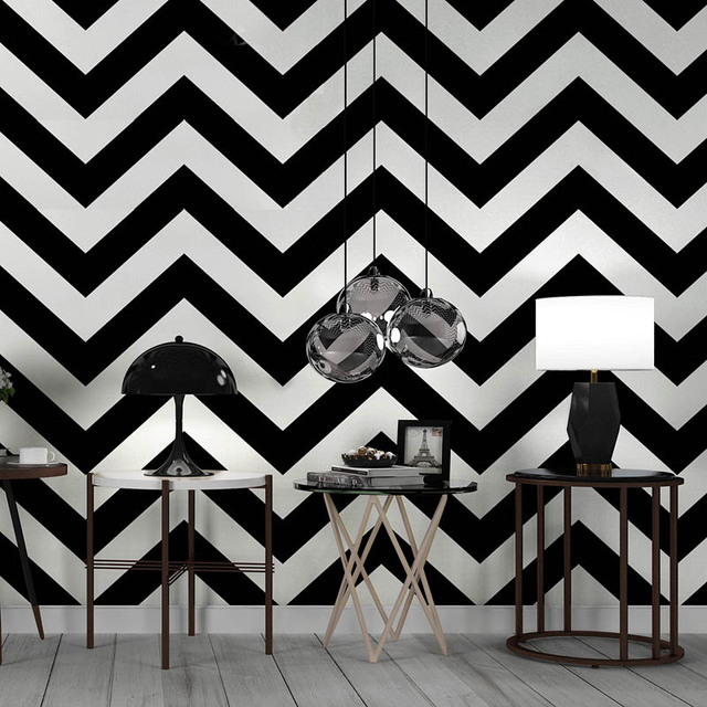 Nordic Black And White Striped Wallpaper Modern Geometric Lines Bar Clothing Bedroom Living Room