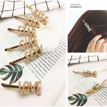 1 Pcs Fashion English Letter Words Imitation Pearl Hair Clips Boss Kiss Love Hairclips Girl Gift Gold Barrette Hair Accessories(China)