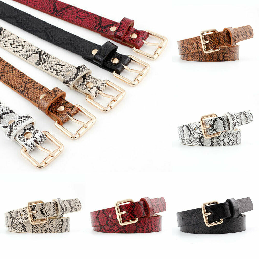 Womens Snake Printed Belt Lady Square Buckle Waistband Pants Girdle Charm Decor