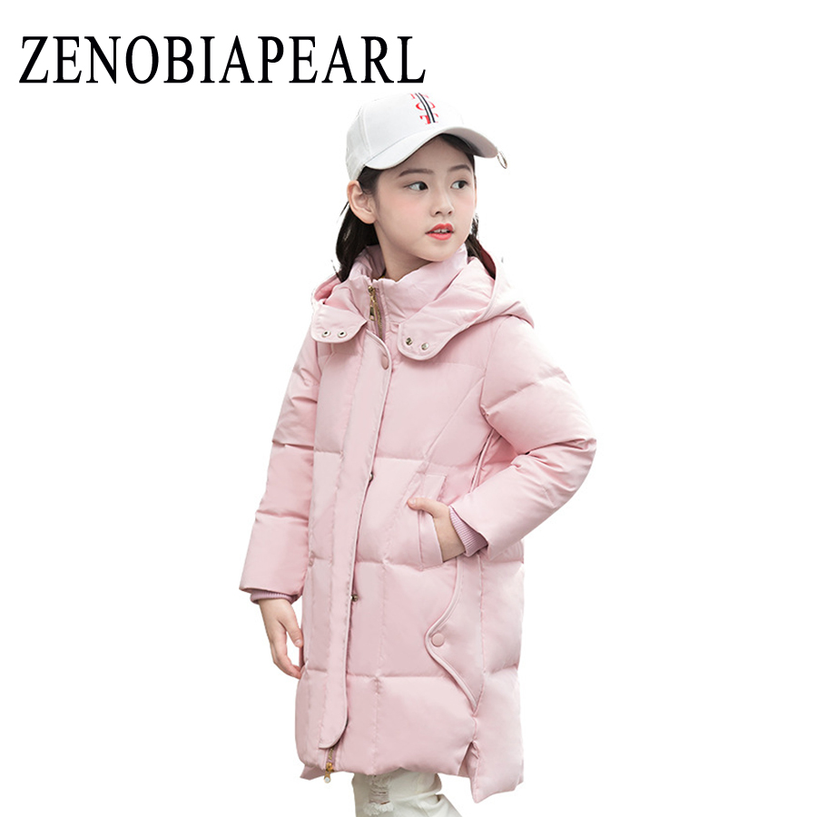 New 2018 Fashion Children Winter Jacket Girl Winter Coat Kids Warm Thick Fur Collar Hooded Long Down Coats for Teenage 3Y-12Y 2017 winter women jacket down new fashion long sleeve hooded thick warm short coat slim big yards female autumn parkas ladies242
