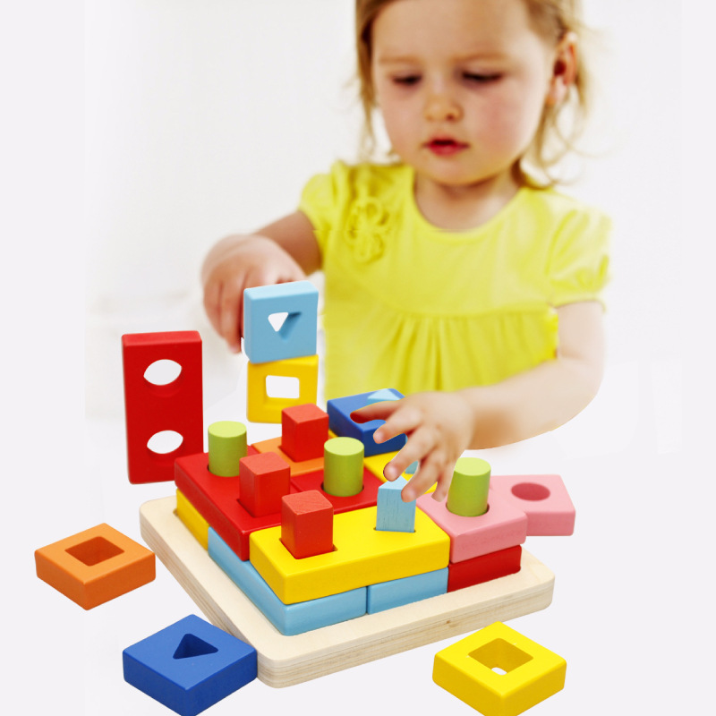 Free Shipping Backpack Blocks Children's Educational Toys, Kids Wooden Solid Geometry Shape Matching Blocks Toy Gift