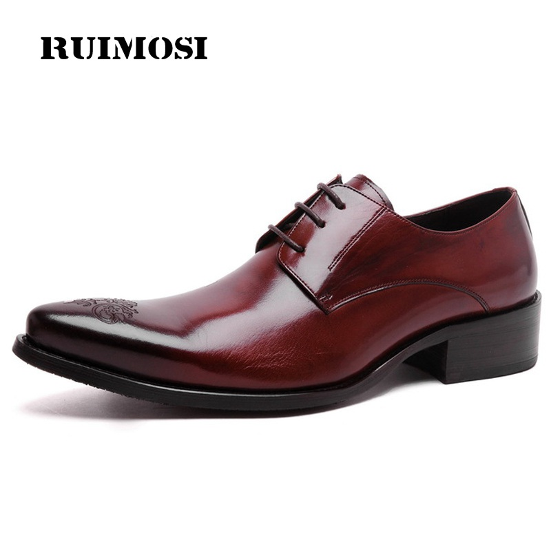 RUIMOSI Elegant Man Formal Dress Party Shoes Genuine Leather Wedding Oxfords Pointed Toe Derby Business Men's Bridal Flats TH60