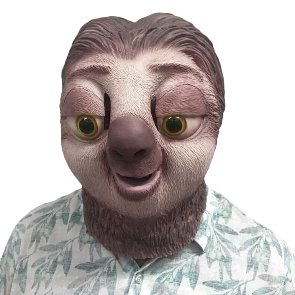 Sloth latex mask Zootopia Sloth Mask Nick Wilde Latex Full Head Animal Mask Halloween Party Cosplay Prop Accessories Toy