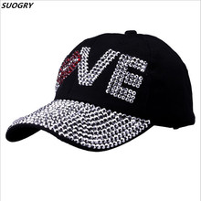 Baseball caps New style letter LOVE cap for women sun hat rhinestone hat denim and cotton snapback cap free shipping