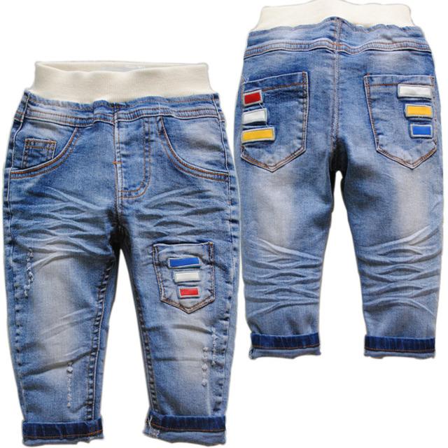 3938 suave denim jeans pantalones del bebé bebé pantalones pantalones del bebé de primavera y otoño de los niños bebé de la manera ropa casual niza azul