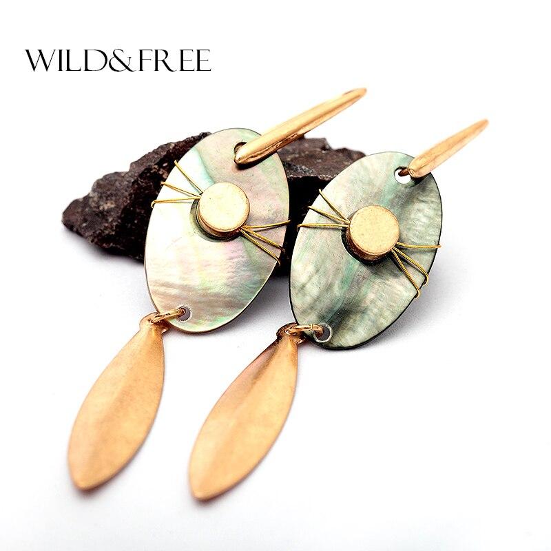 WILD & FREE Women Handmade Vintage Natural Shell Drop Earrings Zinc Alloy Antique Gold Metal Pendant Dangle Earrings Jewelry