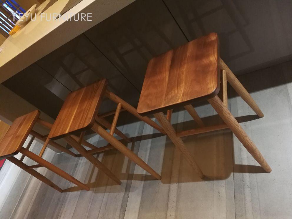 Design moderno noce massello legno quadrati bassi sgabello reale