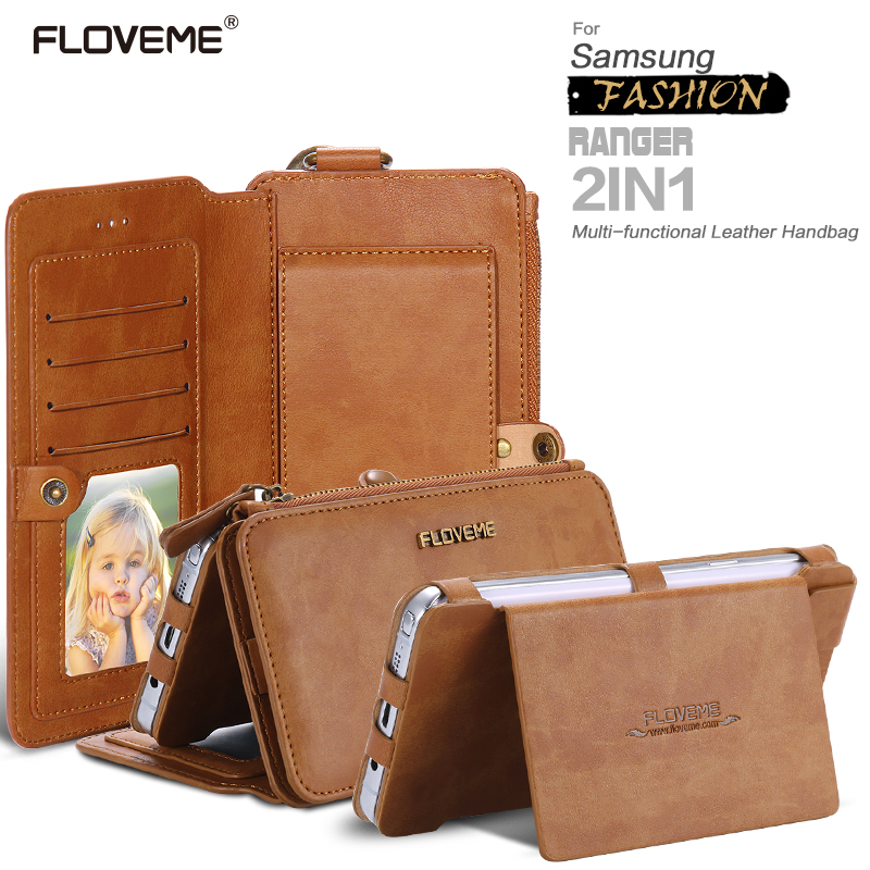 FLOVEME Retro Leather Phone Case For Samsung Galaxy NOTE 3 4 5 / S7 / S6 edge plus Metal Ring Coque Card Wallet Protective Cover