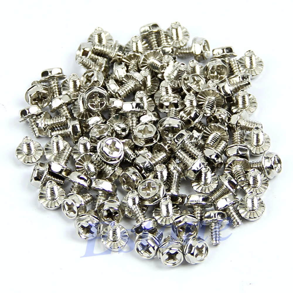 100pcs Screws Toothed Hex 6/32 Computer PC Case Hard Drive Motherboard Mounting Screws