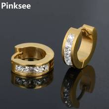 Men Round Circle Crystal Small Hoop Earrings 316L Stainless Steel Huggie Jewelry Unisex Gold/Silver/Black Color