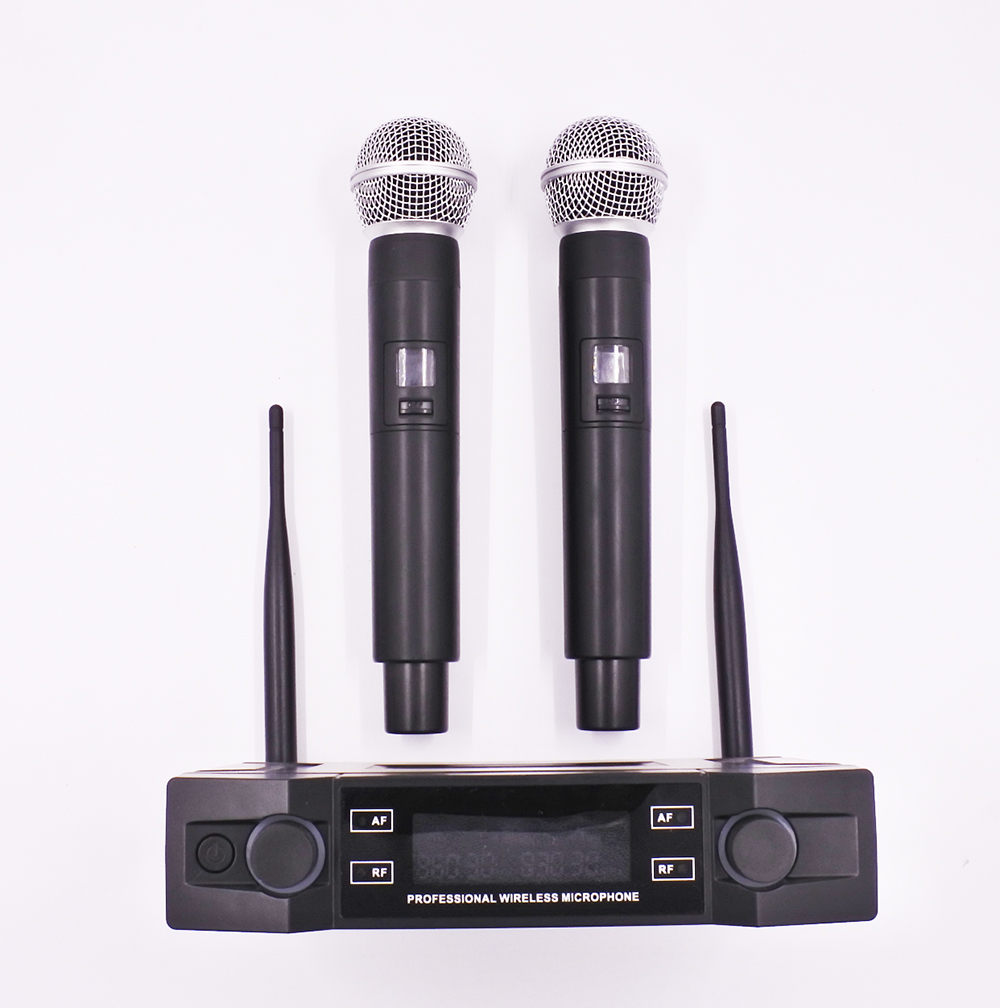 UHF Fixed frequency ULXD24 style dual handheld transmitter karaoke entertainment wireless microphone system bardl us 132 2 channels uhf infrared frequency lcd 200 frequency adjustable wireless microphone handheld lavalier headset