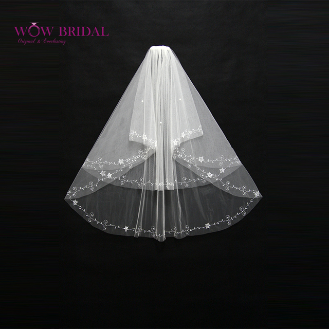 Wowbridal Graceful Bridesmaid Wedding Veil 2016 Two Layer Pattern Sequin Beaded Ribbon Edge Organza Bridal Accessories